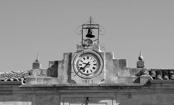 Clock, Town Hall, Bell, Belfry, France, Corbières