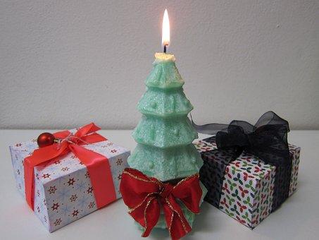 Xmas Tree, Christmas Tree, Candle, Xmas, Green, Gift