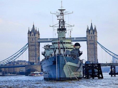Tower Bridge, Hms Belfast, Thames, London, City, River