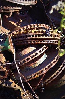 Salvage Yard, Wreck, Vintage, Old, Broken, Red, Metal