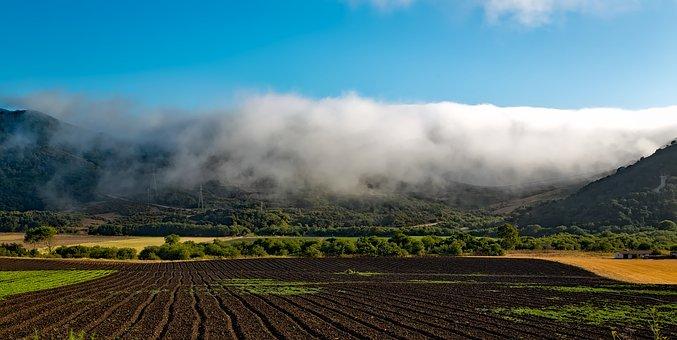 Farm, California, Hdr, Field, Plowed, Mountains