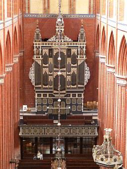 Organ, Wismar, Church, Dom, Building, Historically