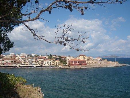 Port, Sea, Aegean, Greece, Crete, Héraklion, Blue