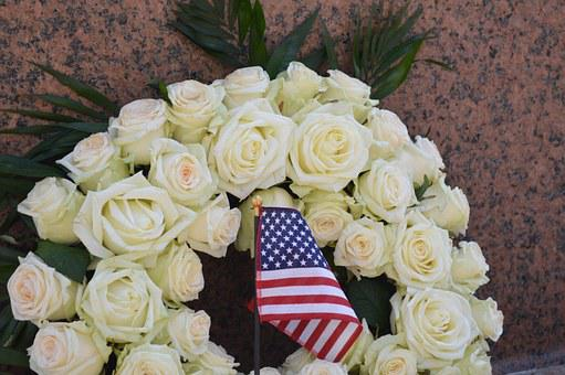 Flowers, Sheaf, White, Flag, Tribute, Commemoration