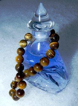 Bottle, Blue, Decoration, Perfume, Ice, Snow, Cold