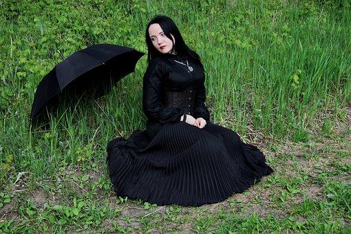Model, Stock, Girl, Woman, Female, Rain, Umbrella, Goth