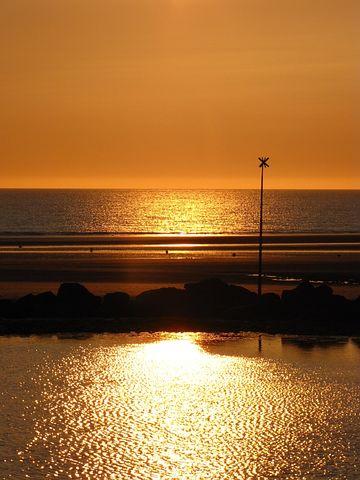 Sunset, North Pas De Calais, Cloud, Beach, Sea, Seawall
