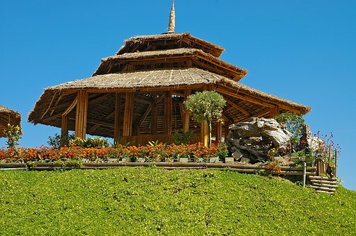 Bamboo Hut, Rice Straw Roof, Thailand, Temple, Building