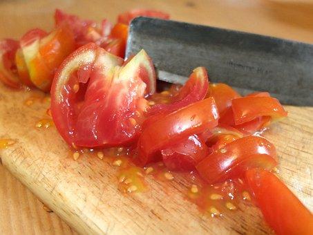 Tomato, Tomato Pieces, Cores, Knife, Cut, Board