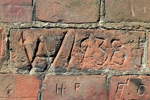 Wall, Red, Brick, Plaster, Cement, Writing, Carving