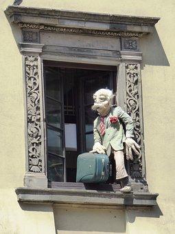 Window, Shutters, Lover, Figure Suitcase, Escape