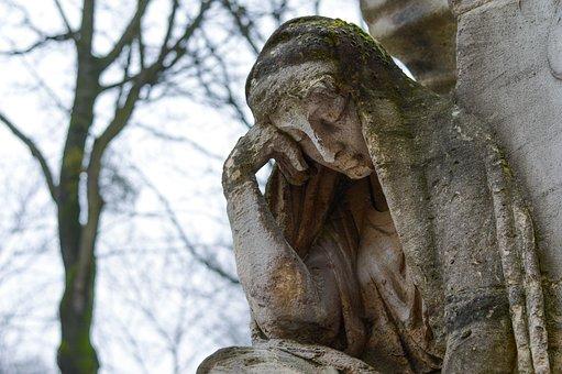 Graveyard, Sculpture, Woman, Cemetery, Tired, Autumn