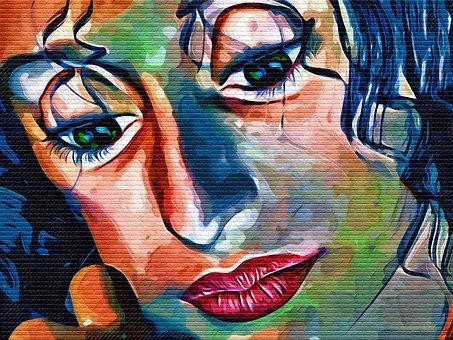 Graffiti, Face, Woman, Colorful, Eyes, Mouth, Lips