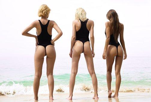 Women, Beach, Sand, Ocean, Models, Bikini, Swim Suit