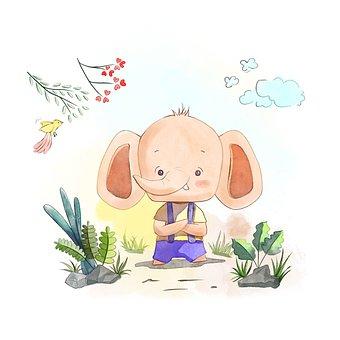 Elephant, Tusks, Bird, Flowers, Plants, Cartoon