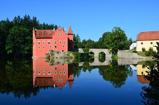 Castle, Building, Trees, Lake, Reflection