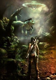 Fantasy, Giant Frog, Woman, Girl, Fighter, Ufo, Forest