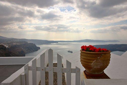 Balcony, Flower Pot, Ocean, Ship, View, Mountains, Sky