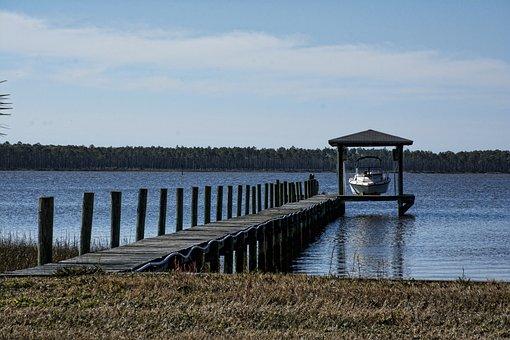 Lake, Jetty, Boat, Wooden Planks, Boardwalk, Platform