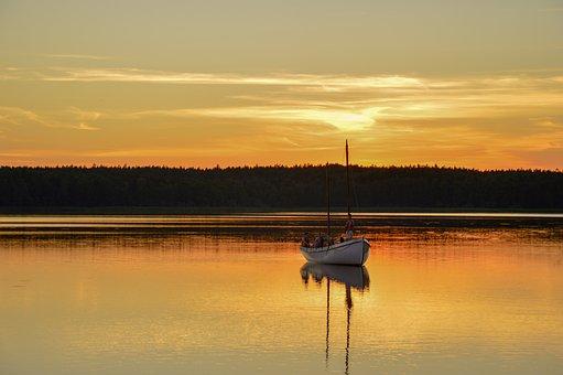 Lake, Boat, Sunset, Reflection, Mirroring, Mirror Image