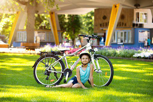 Girl, Bike, Park, Little Girl, Bicycle, Helmet