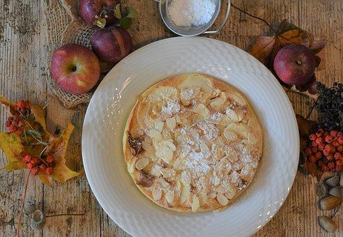 Pancake, Apple Pancakes, Apples, Plate, Almonds