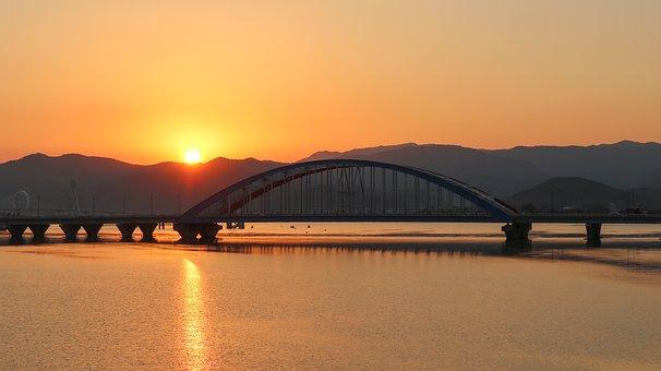 Bridge, River, Mountains, Lake, Glow
