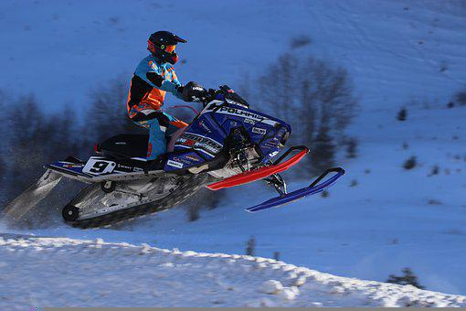 Snowmobiles, Race, Mountains, Snow, Winter, Motor Sled