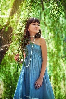 Child, Girl, Model, Trees, Leaves, Park, Dress