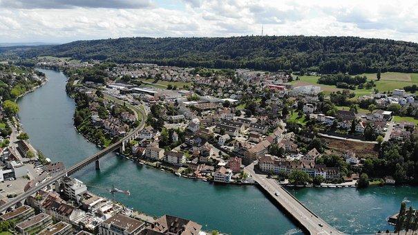 River, Town, Buildings, Urban, Townscape