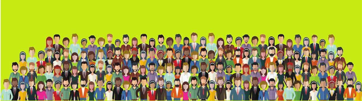 Citizens, Crowd, People, Men, Women, Males, Females