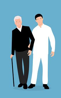Elderly, Caregiver, Care, Man, Old, Together, Age