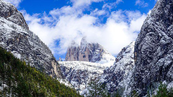 Mountains, Trees, Clouds, Dolomites, Alps, Alpine