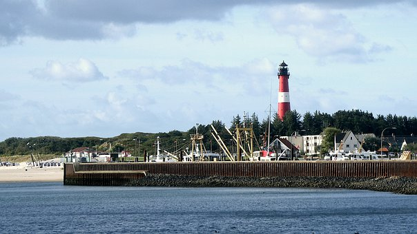 Port, Lighthouse, Tower, North Sea, Beach, Sand, Sky