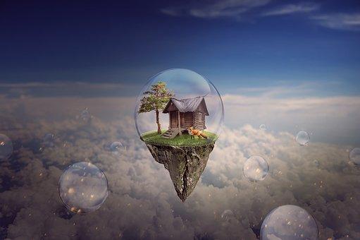 Island, Bubbles, Fantasy, Fox, Hut, Floating, Sky