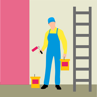 Painting, Wall, Painter, Business, Man, Service, Ladder