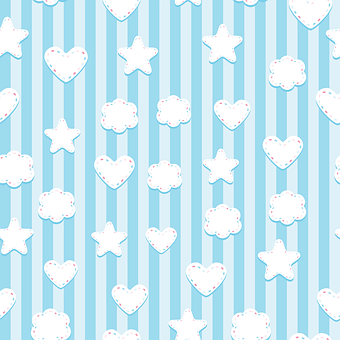 Stars, Hearts, Clouds, Striped, Background, Wallpaper