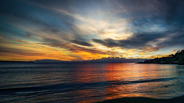 Sunset, Sea, Clouds, Horizon, Sky, Ocean