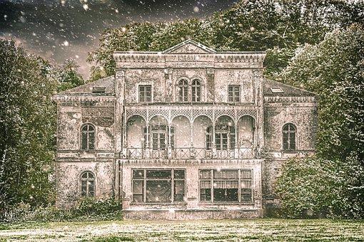 House, Mansion, Winter, Snowfall, Facade, Building