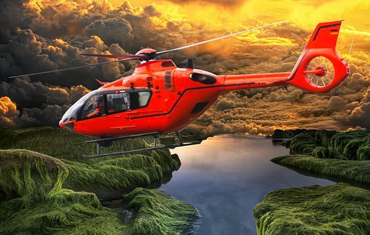 Helicopter, Flying, Lake, Clouds, Smoke