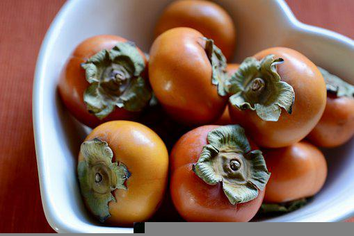 Persimmon, Fruit, Bowl Of Fruits, Bowl Of Persimmons