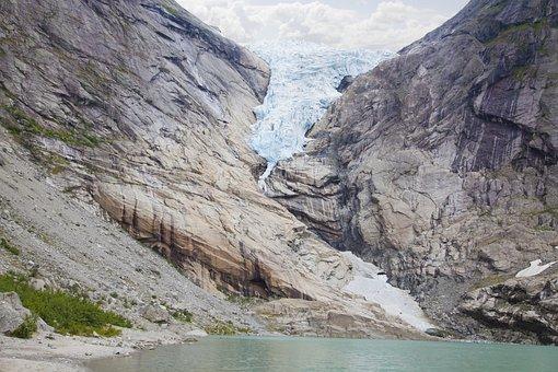 Lake, Mountain, Glacier, Tourist Attraction
