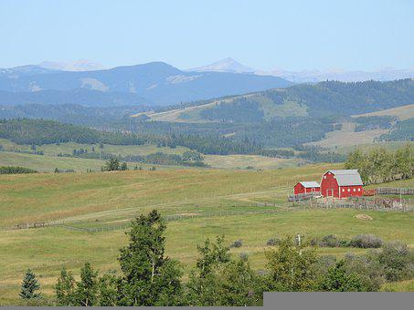Foothills, Barn, Fields, Hills, Mountains, Trees, Grass