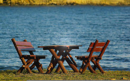 Lake, Wooden Table, Benches, Wooden Benches, Grass
