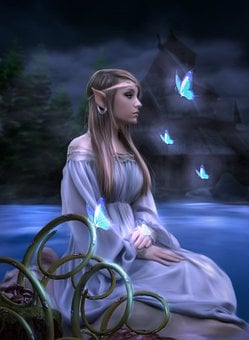 Woman, Elf, Butterflies, Lake, House, Kupukupu, Fantasy