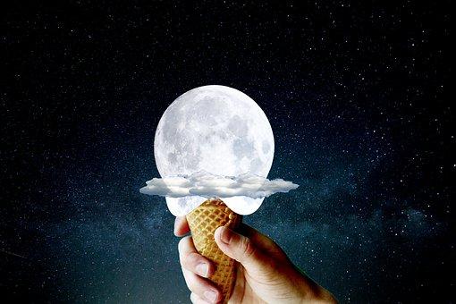 Ice Cream, Cone, Moon, Hand, Holding, Ice Cream Cone