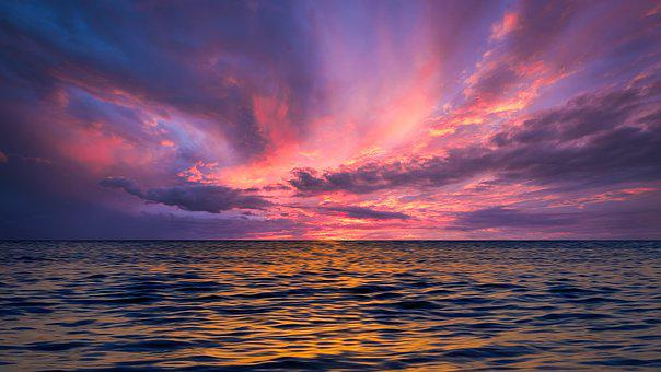 Sunset, Sea, Clouds, Horizon, Sky, Ocean, Seascape
