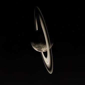 Moon, Rings, Night, Celestial Body, Rings Of Saturn