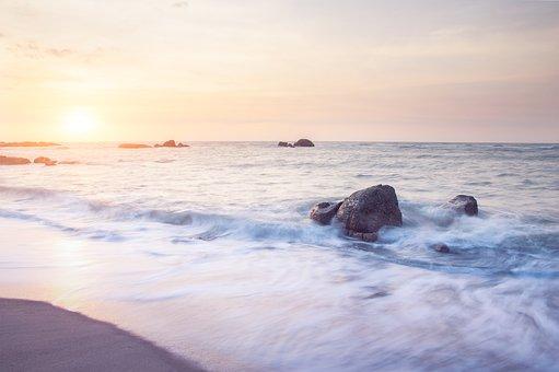 Beach, Sunset, Sea, Sand, Horizon, Rocks, Ocean