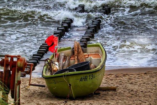 Fishing Boat, Coast, Sea, Shore